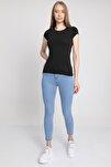 MD trend Kadın Siyah Bisiklet Yaka T-Shirt Mdt3511