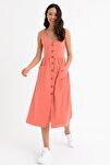 Kadın Pembe Kolsuz V Yaka Önden Düğmeli Elbise HN1671