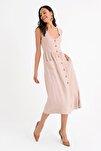 Kadın Bej Kolsuz V Yaka Önden Düğmeli Elbise HN1671