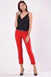 Kadın Dar Paça Kırmızı Kumaş Pantolon 1581-891K