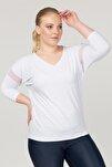 Büyük Beden Beyaz Kadın Antrenman T-Shirt FS-1769