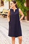 Kadın Lacivert Cepli Midi Boy Elbise ARM-19Y001122