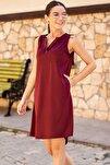 Kadın Bordo Cepli Midi Boy Elbise ARM-19Y001122