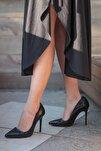 Siyah Kroko Kadın Topuklu Ayakkabı