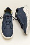 MANOJI Hakiki Deri Mavi Erkek Ayakkabı