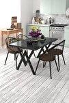 Eylül 4 Kişilik Mutfak Masası Takımı Siyah Mermer Desen Kahverengi