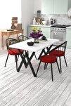 4 Kişilik Mutfak Masası Takımı Beyaz Kırmızı