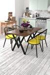Eylül 4 Kişilik Mutfak Masası Takımı Ceviz Sarı