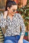 Kadın Beyaz Çizgi Desen Uzun Kol Gömlek ARM-20Y001002