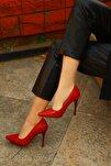 Kırmızı Kroko Kadın Topuklu Ayakkabı