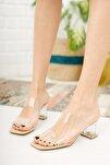 Kadın Krem Şeffaf Bant Ve Topuk Detay Topuklu Ayakkabı