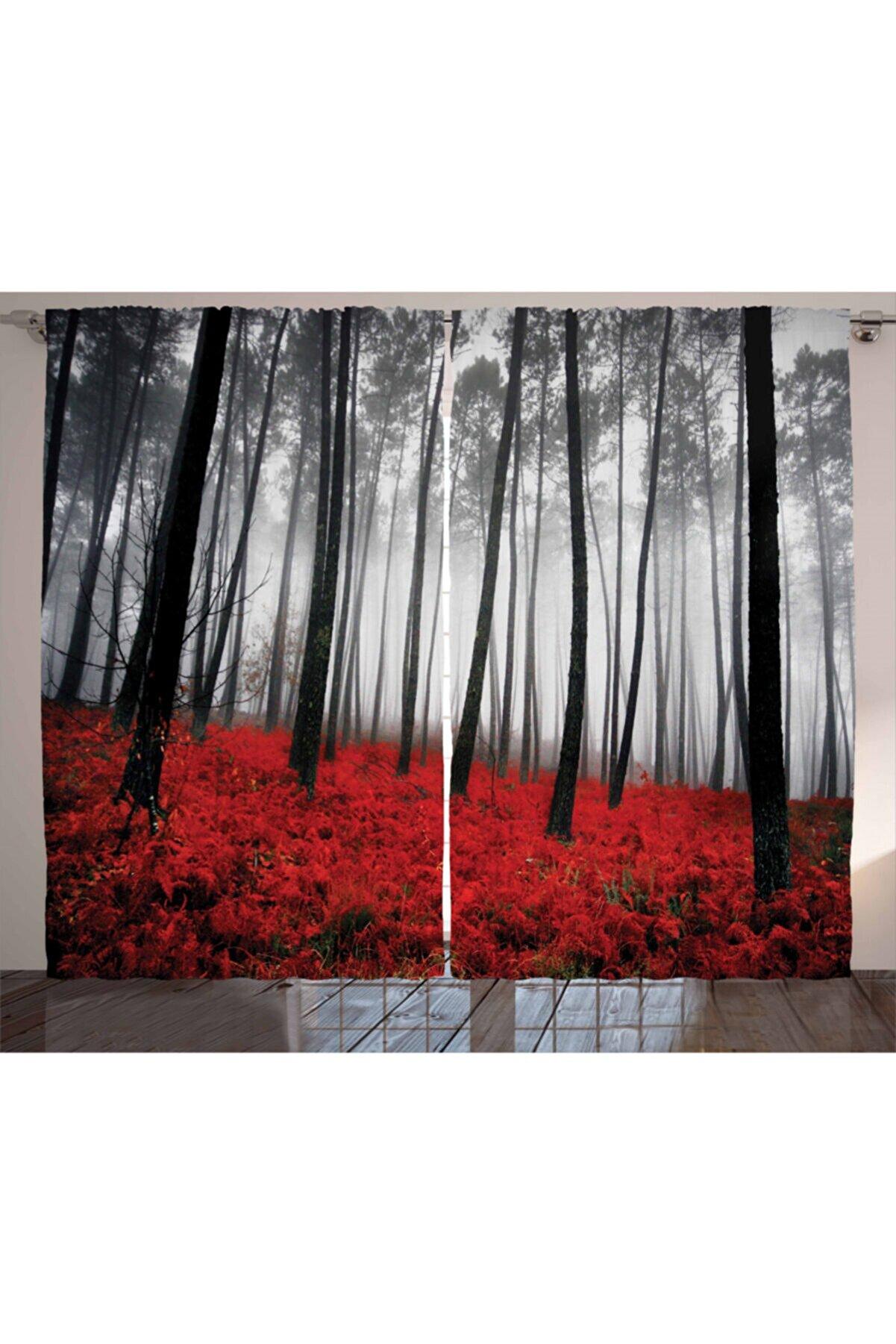 Orange Venue Çiçekli Perde Kırmızı Çiçekli Sisli Orman