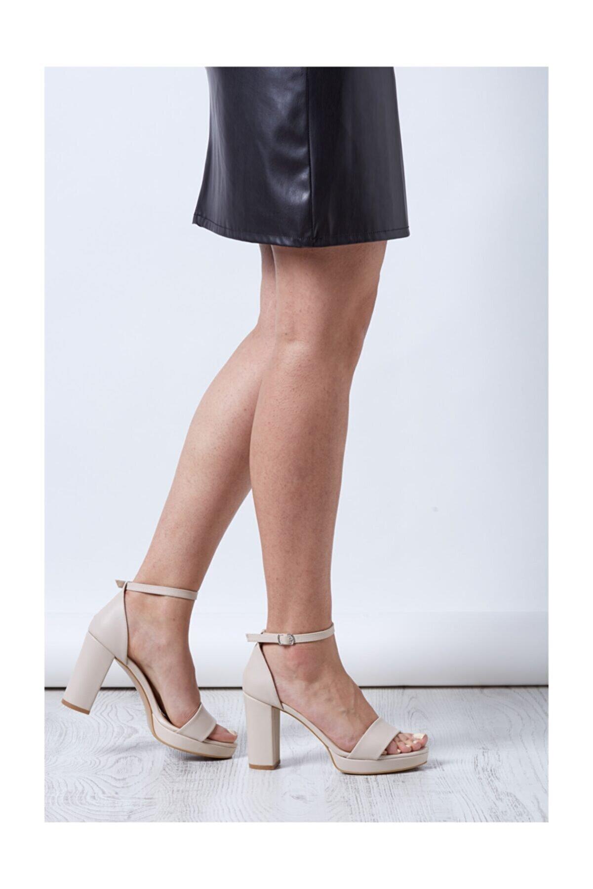 MİNAMİRA Kadın Nude Cilt  Platform Topuklu Ayakkabı Romance