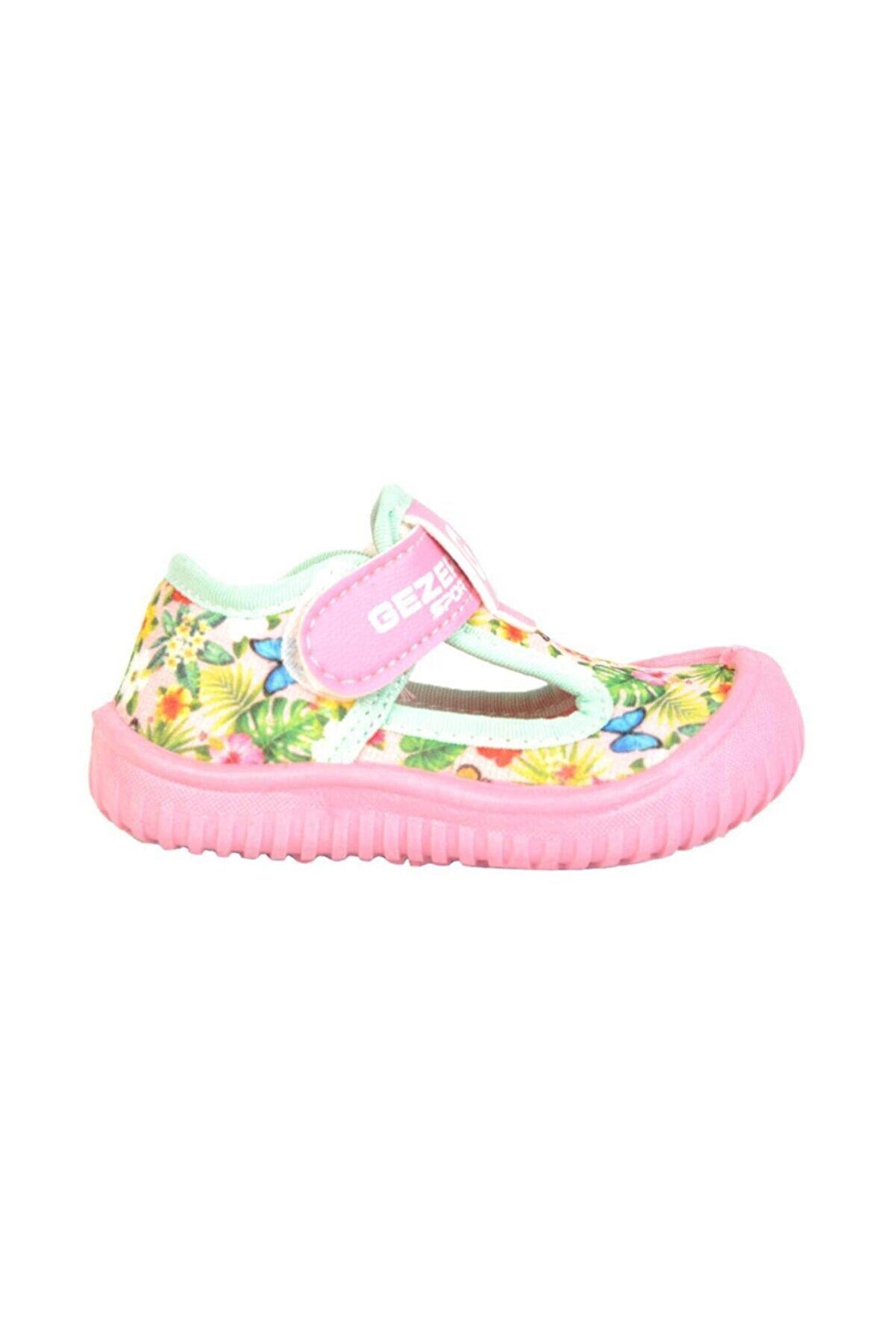 Gezer 03041 Renkli Cırtlı Yazlık Kız Çocuk Sandalet Deniz Ayakkabı