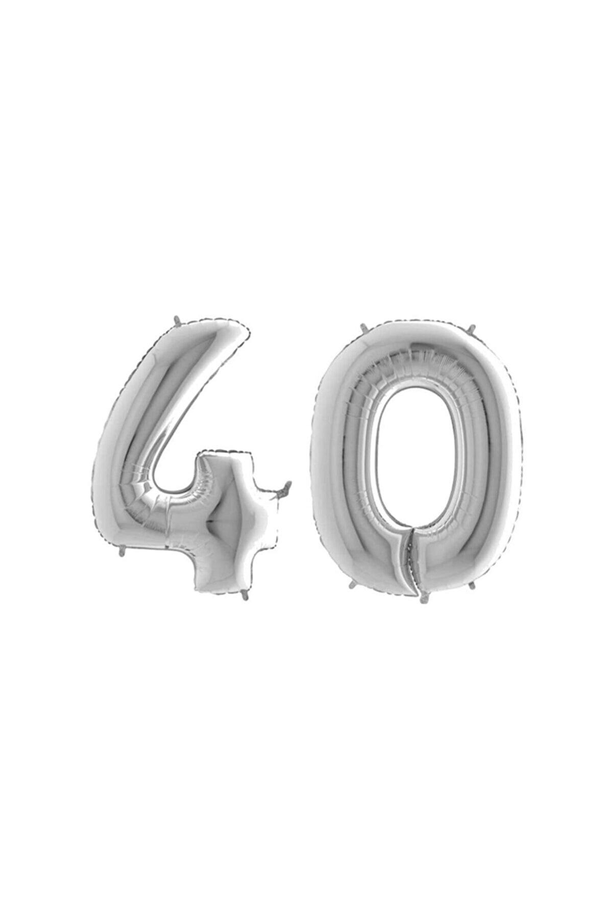DMS DEKOR 40 Yaş Rakam Folyo Balon Gümüş 80cm