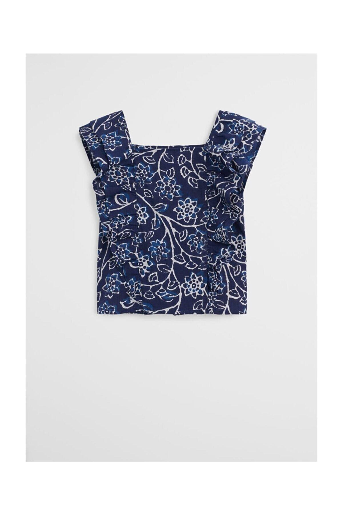 Mango Kız Çocuk Desenli Mavi Bluz 67018261