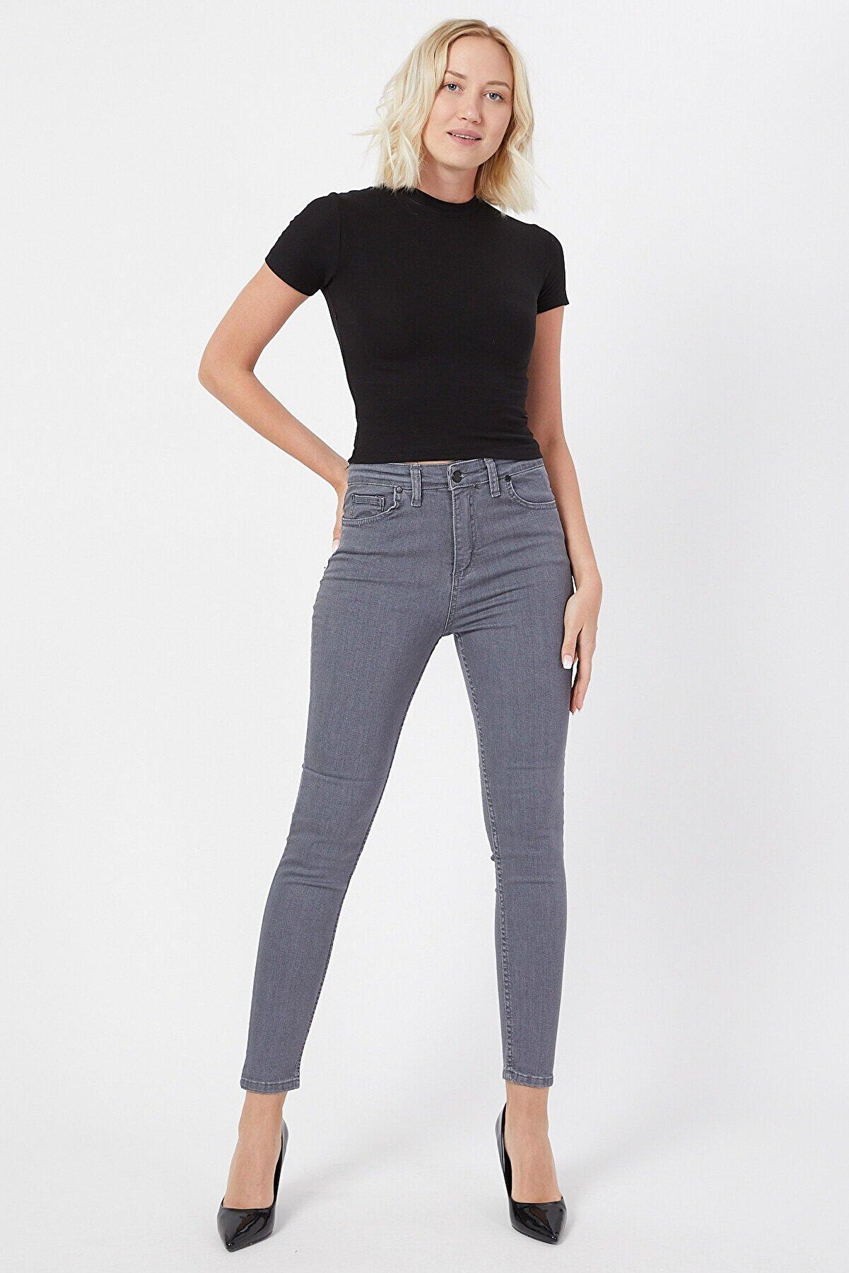 VAV Kadın Gri  Dar Paça Yüksek Bel Kot Pantolon