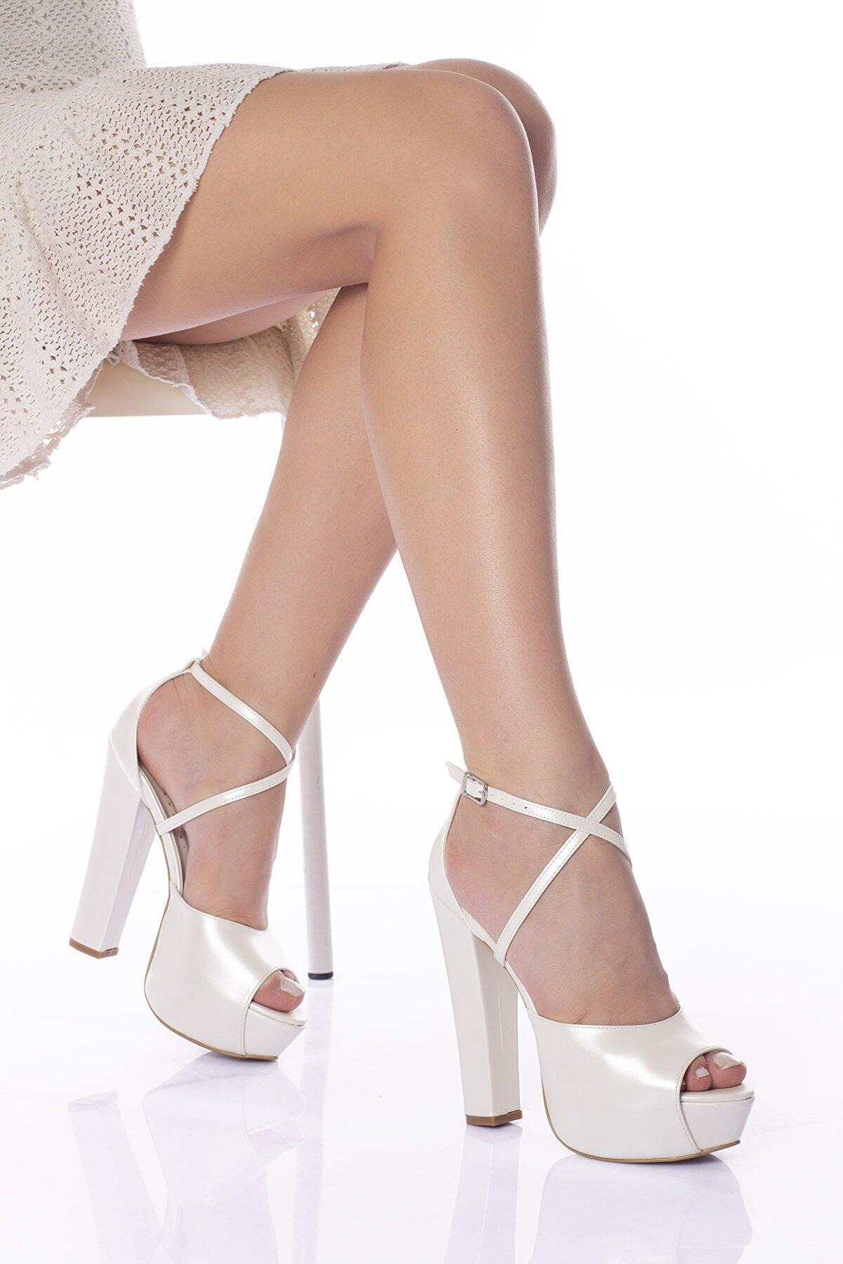 Hayat ayakkabı Sedef Cilt Kadın Yüksek Topuklu Abiye Gelinlik Ayakkabı