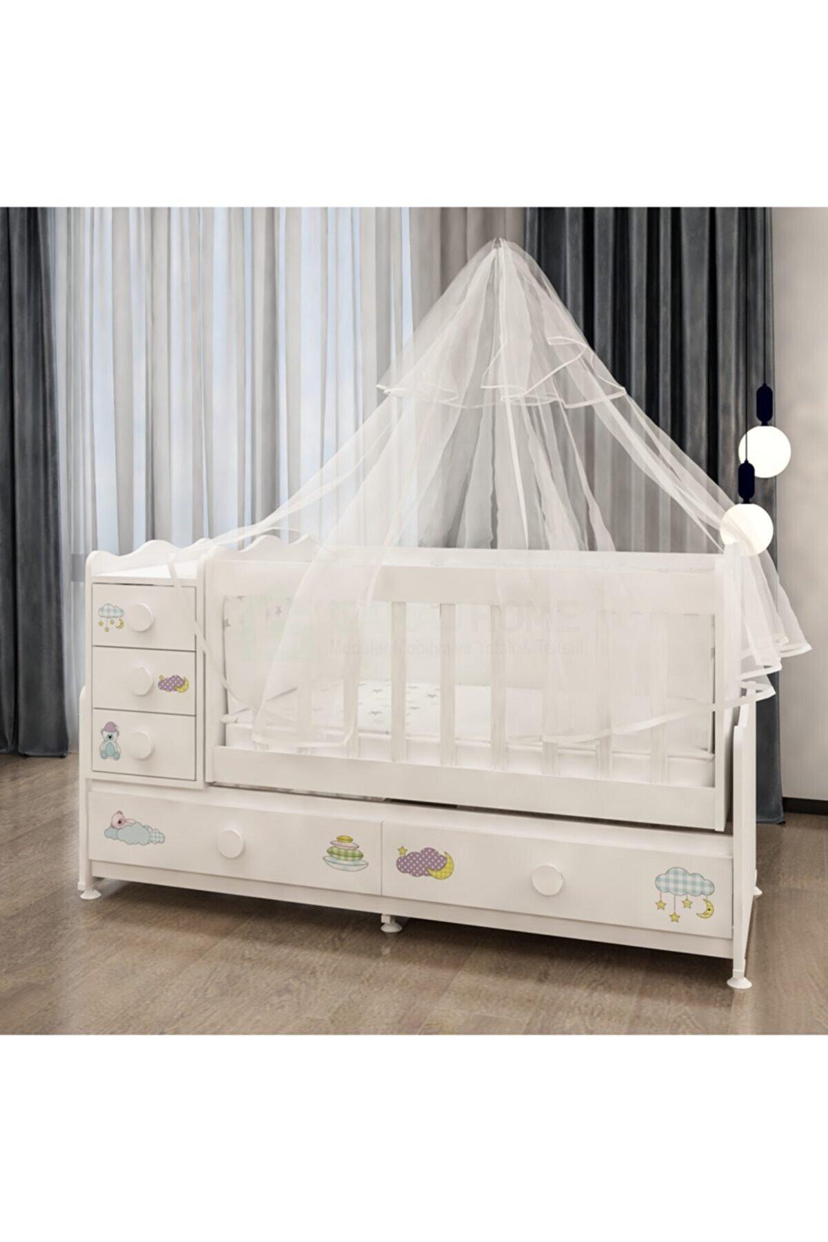 Garaj Home Melina Uykucu Uyku Setli Beşik Kombini- Uykuseti Beyaz