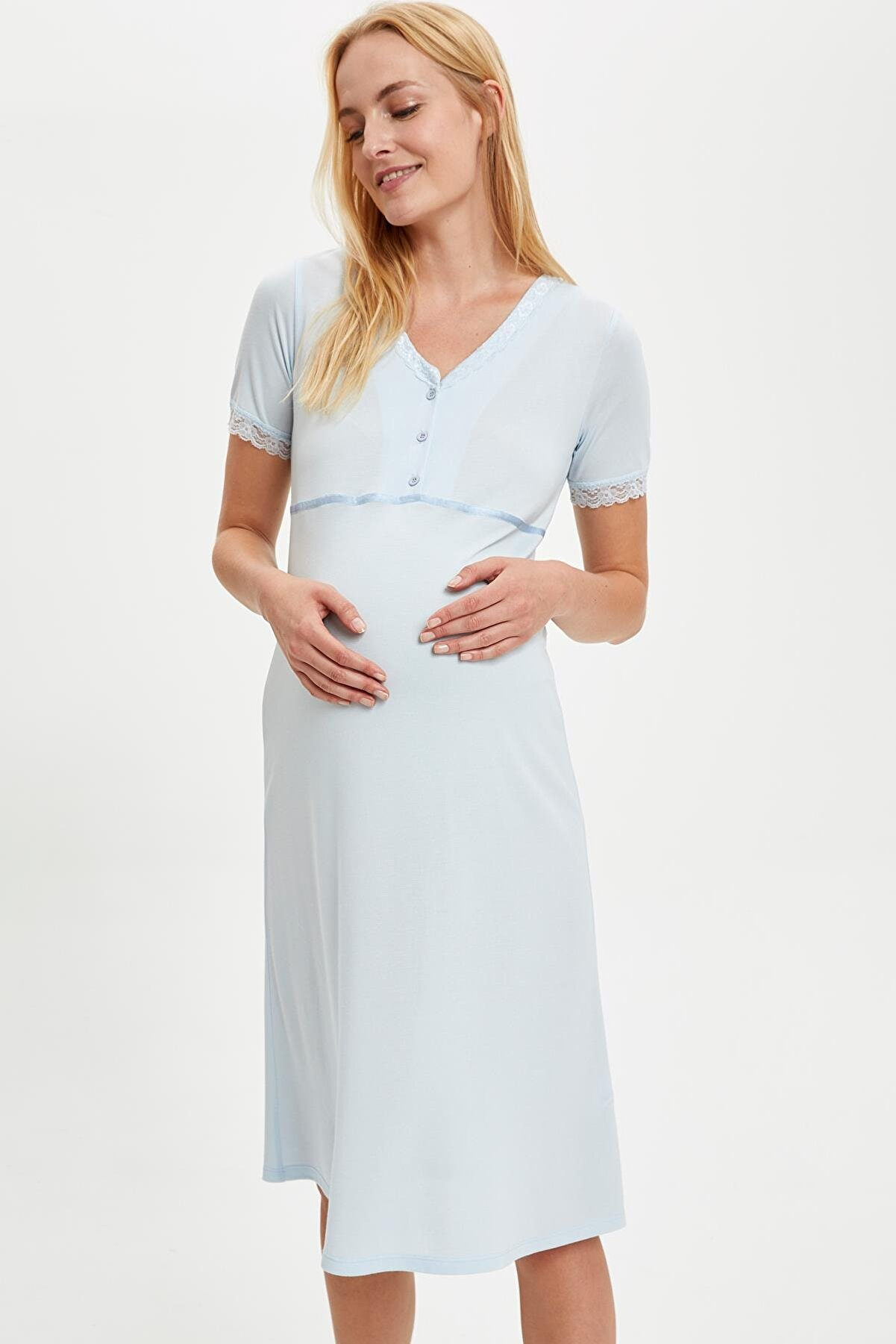Defacto Maternity V Yaka Detaylı Dantelli Gecelik