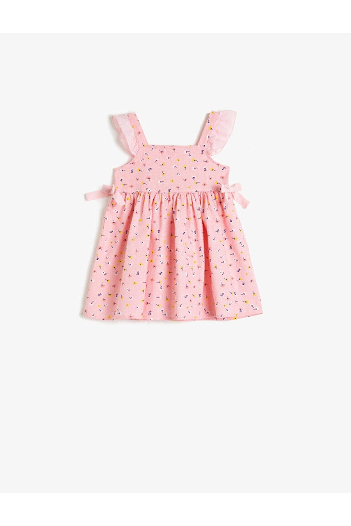 Koton Kız Bebek Pembe Pamuklu Çiçek Desenli Volanlı Elbise