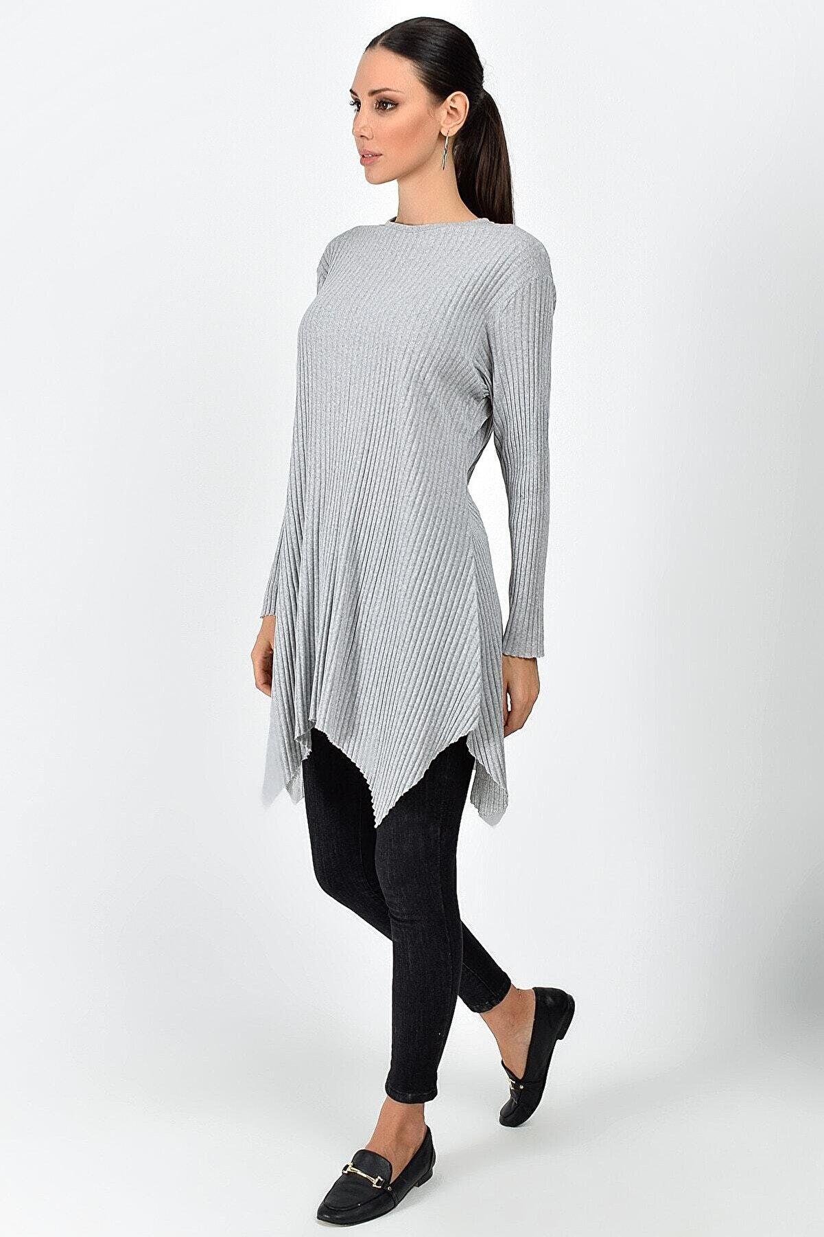 Cotton Mood 8411104 Kalın Fitilli Uzun Kol Çan Tunik Acık Grı