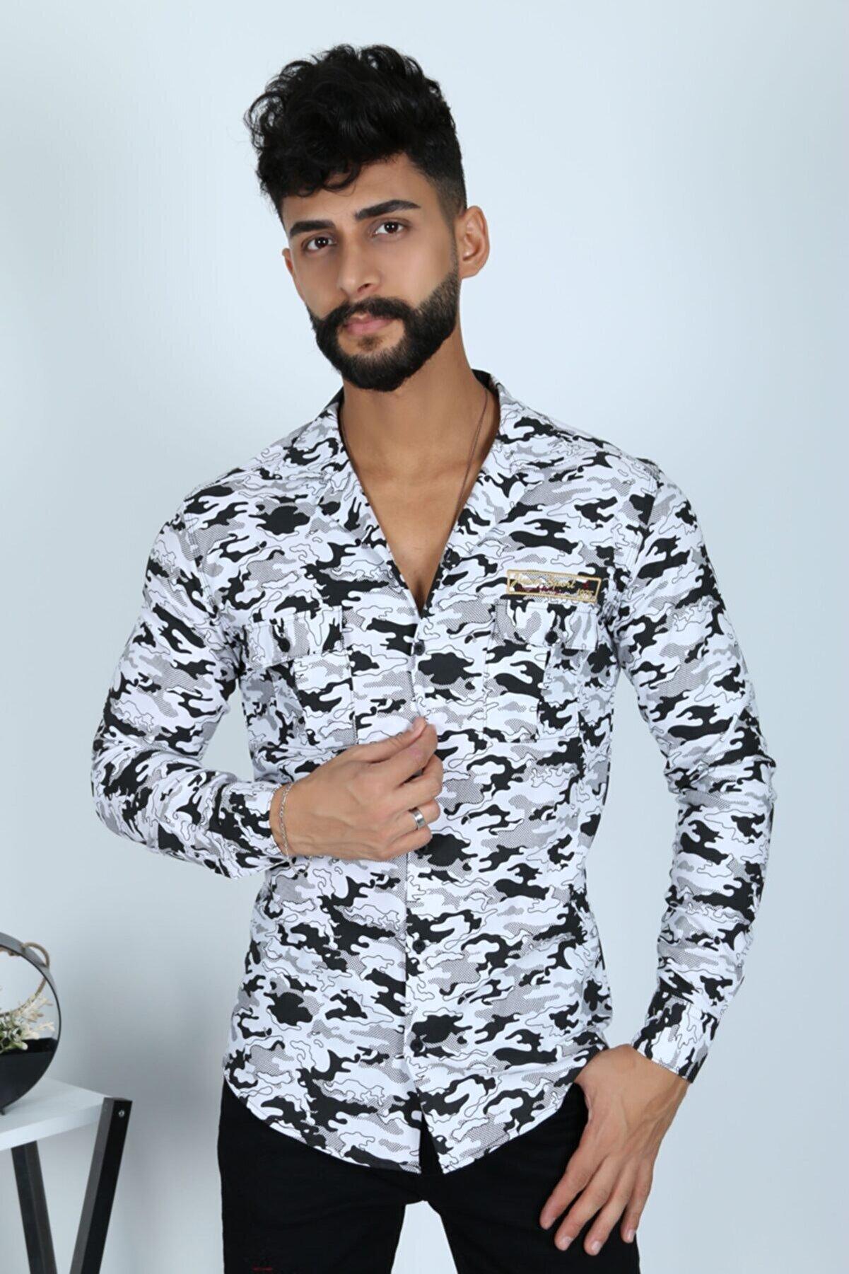 JİYAN Erkek Beyaz Kamuflaj Desen Gömlek