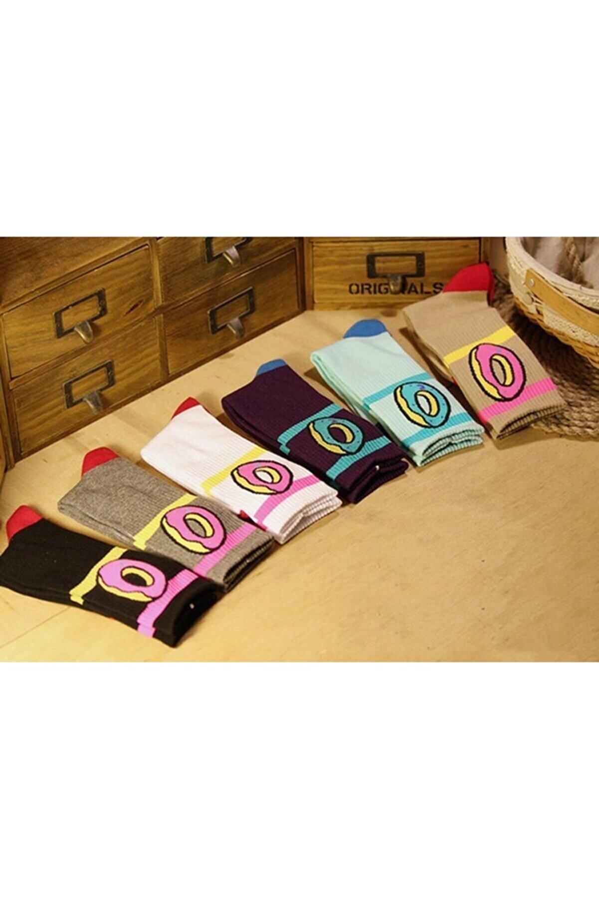 çorapmanya Kadın 6' Lı Karışık Renkli Çörek Desenli Kolej Çorabı