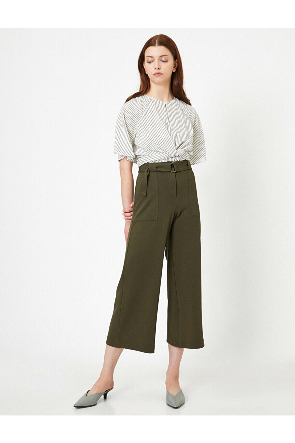 Koton Kadın Yeşil Kemer Detayli Pantolon