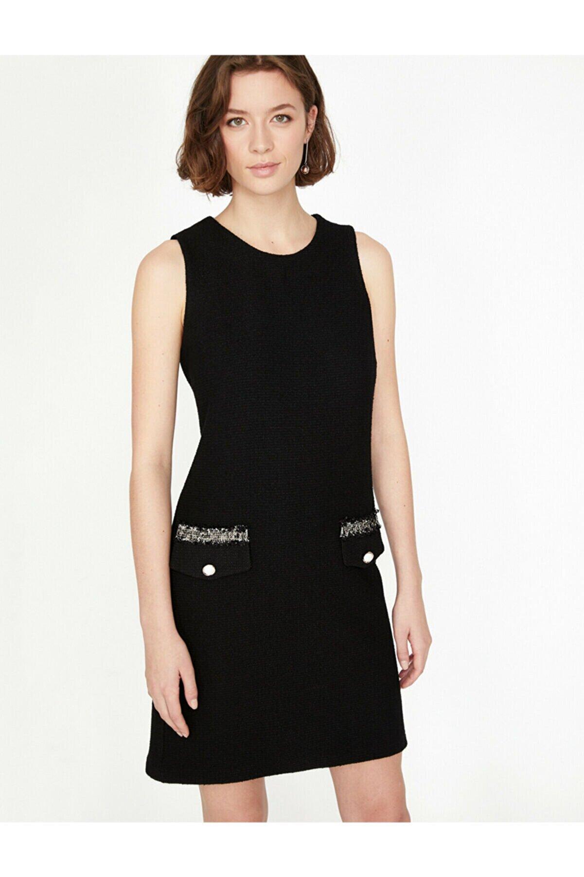 Koton Kadın Siyah Bisiklet Yaka Elbise