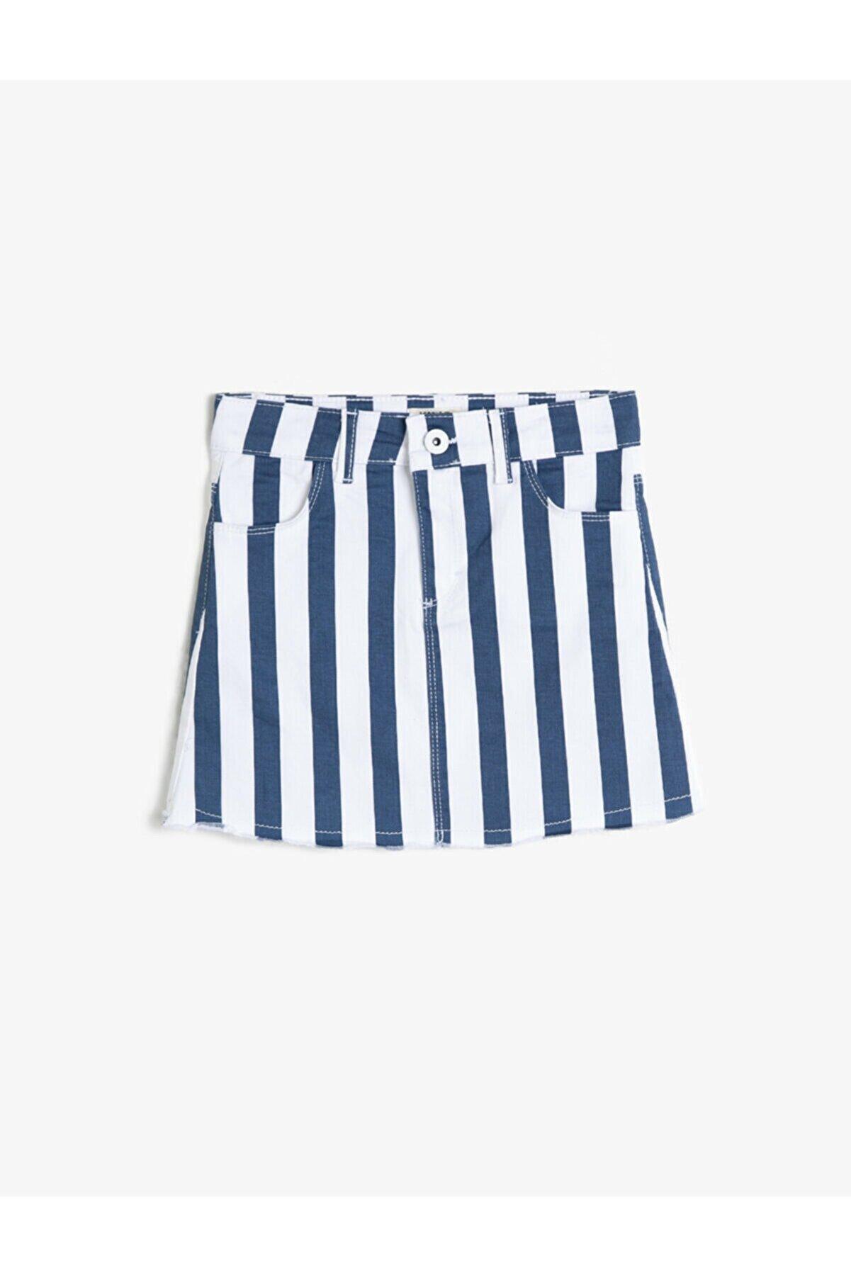 Koton Kız Çocuk Mavi Çizgili Esnek Pantolon Kumastan Fermuarli Cepli Diz Üstü Etek