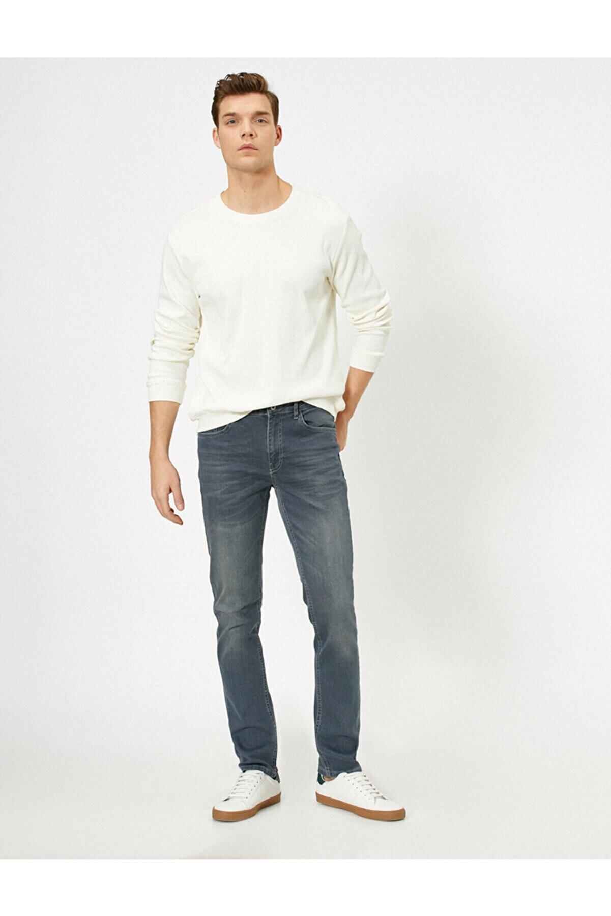 Koton Erkek Gri Brad Slim Fit Jean Pantolon