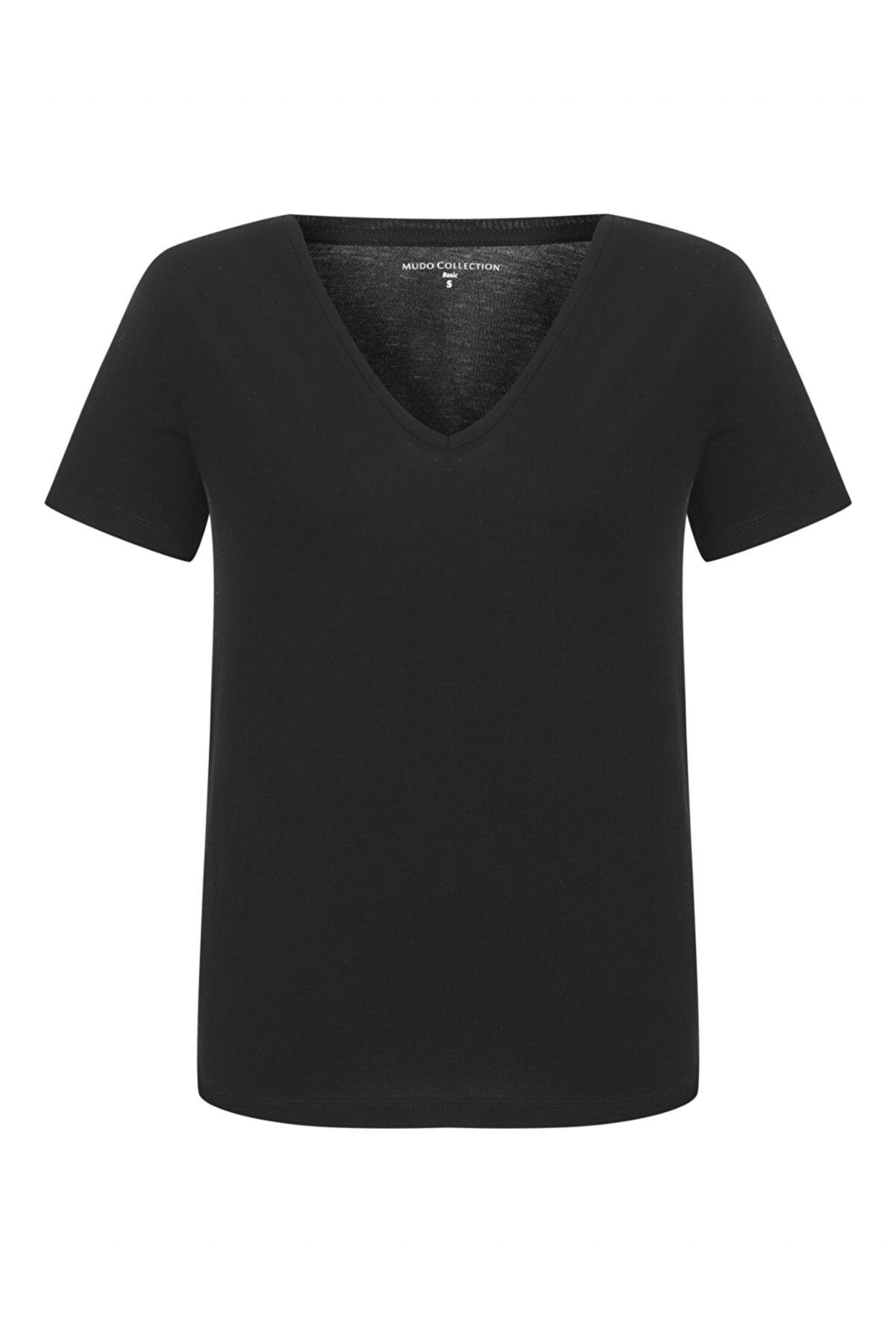 Mudo Kadın Siyah V Yaka Pamuk Basıc T-Shirt 368778