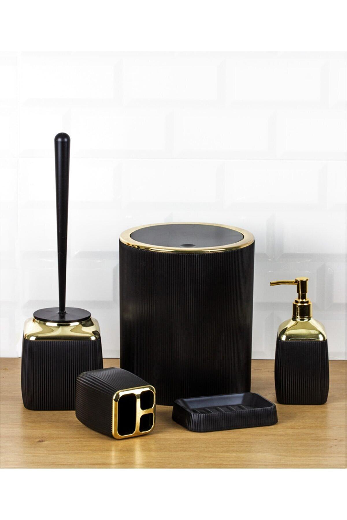 Okyanus Home Gold Serisi Çizgili 5'li Banyo Seti - Siyah
