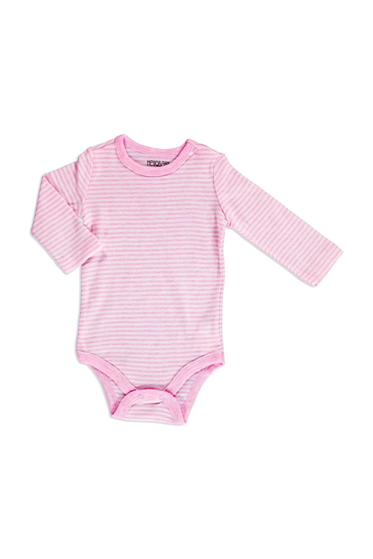 HelloBaby Bebek Çizgili Ribana Uzun Kol Çıtçıtlı Yaka Tek Body