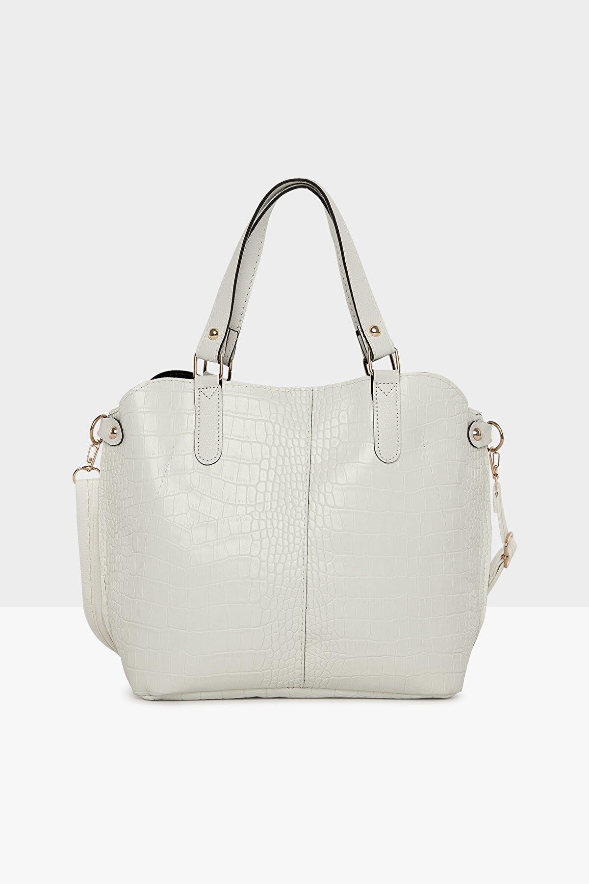 Bagmori Beyaz Kadın Kroko Üç Bölmeli Çıtçıtlı Çanta M000003772
