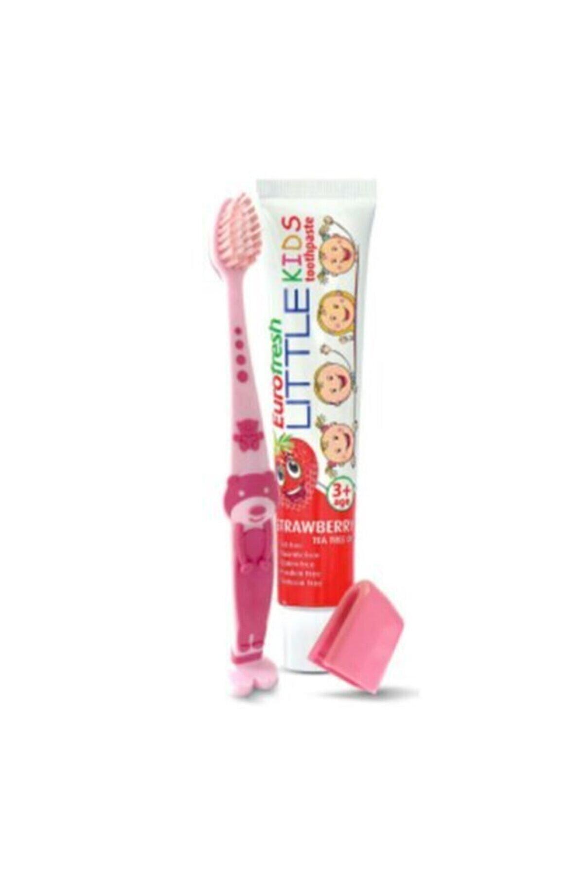Farmasi Çilekli Çocuk Diş Macunu 50gr + Çocuk Diş Fırçası Pembe