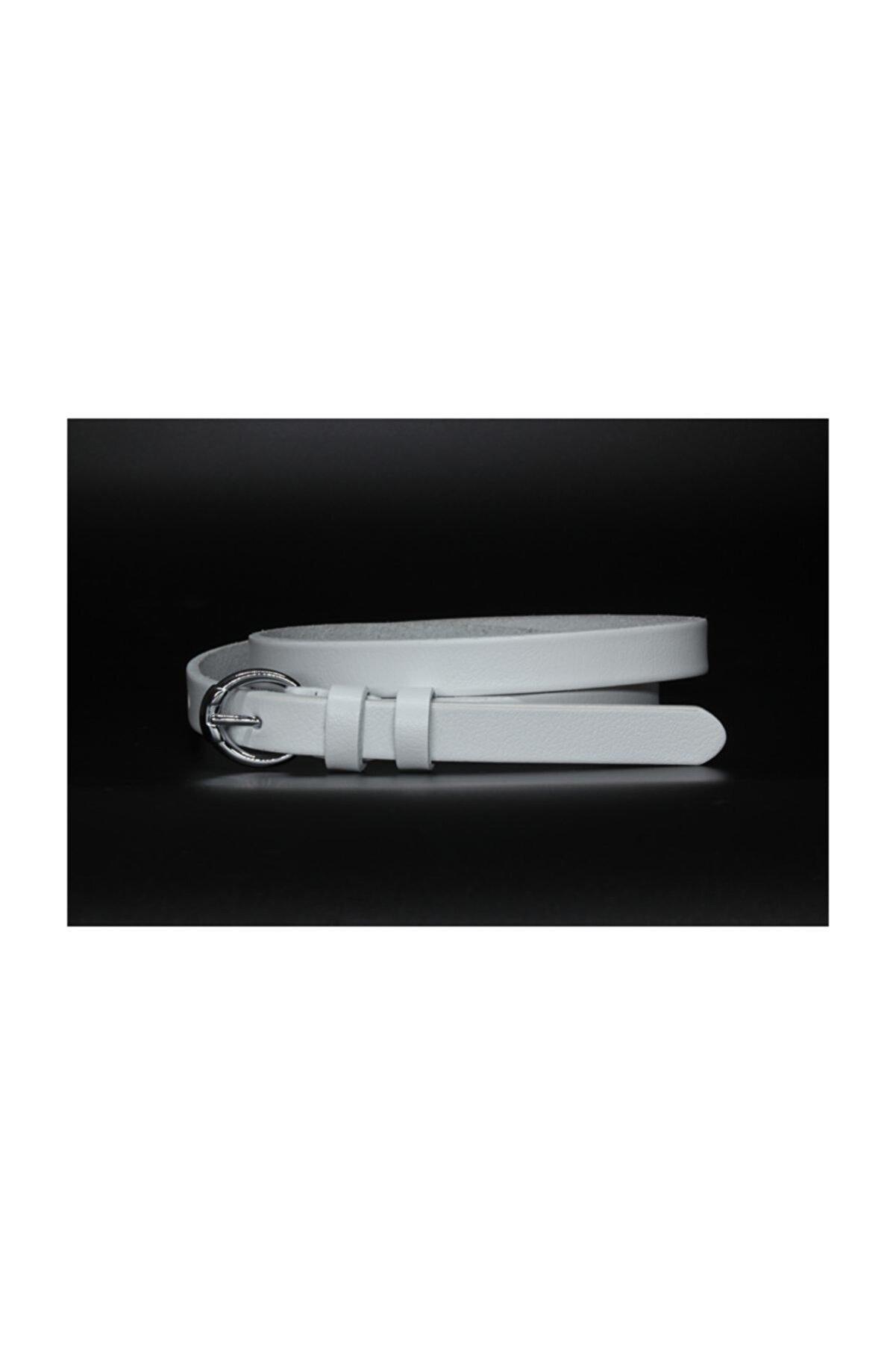 Livize Deri Beyaz Kadın Kemeri 2cm