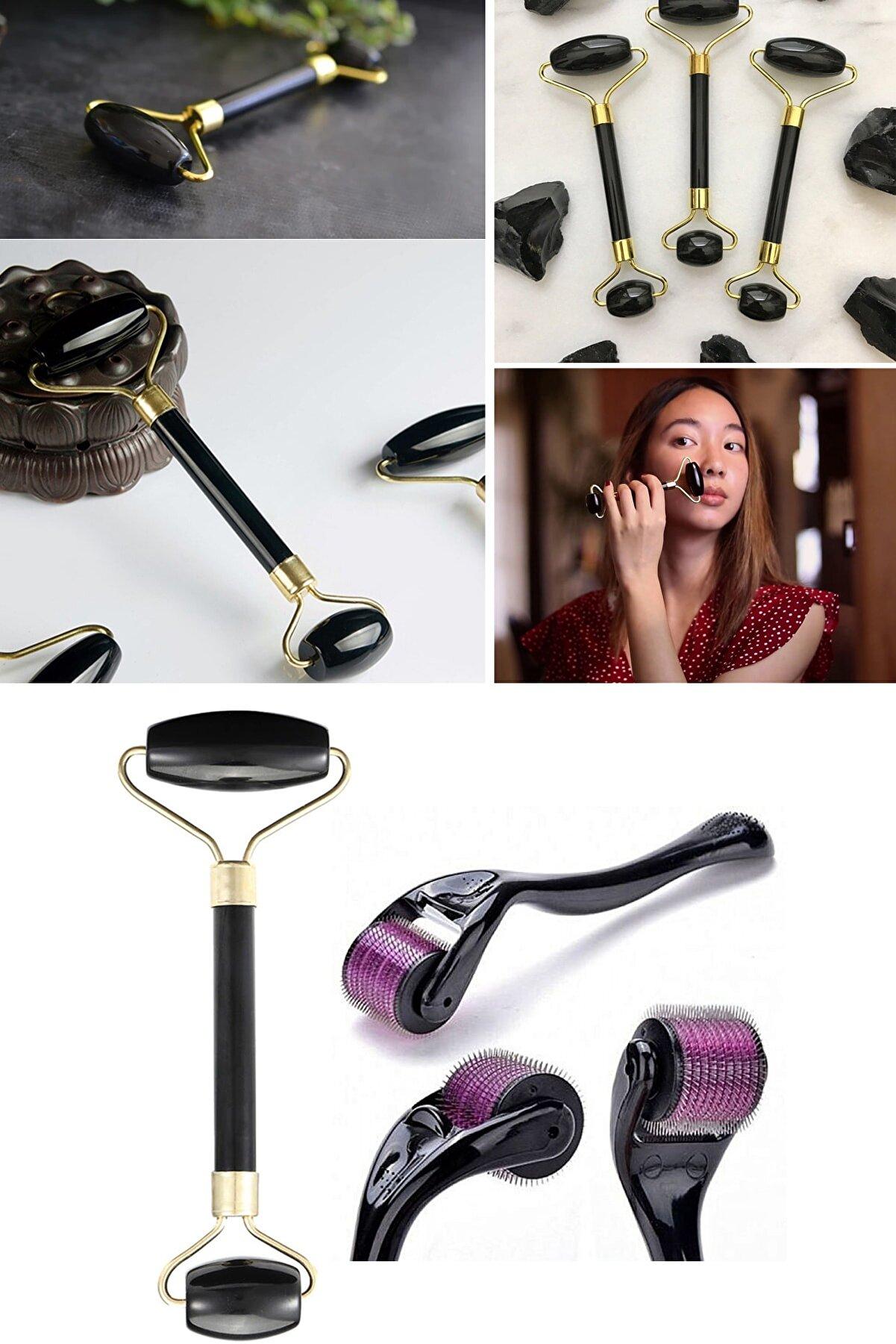 Xolo Dermaroller 0,5 mm 540 Iğneli Cilt Yenileme Aleti + Jade Roller Siyah 2'li Yeşim Taşı Masaj Aleti