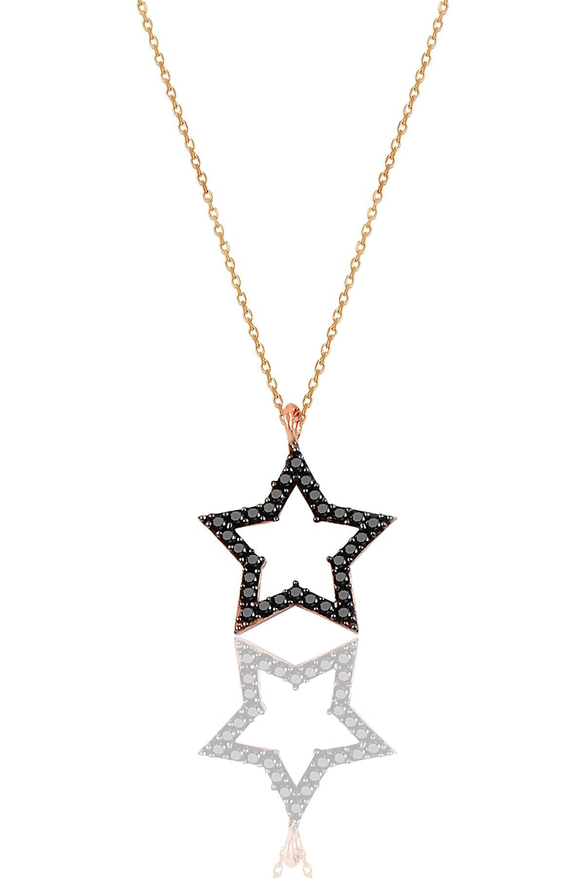 Söğütlü Silver Gümüş Siyah Taşlı Yıldız Modeli Kolye SGTL9866SİYAH