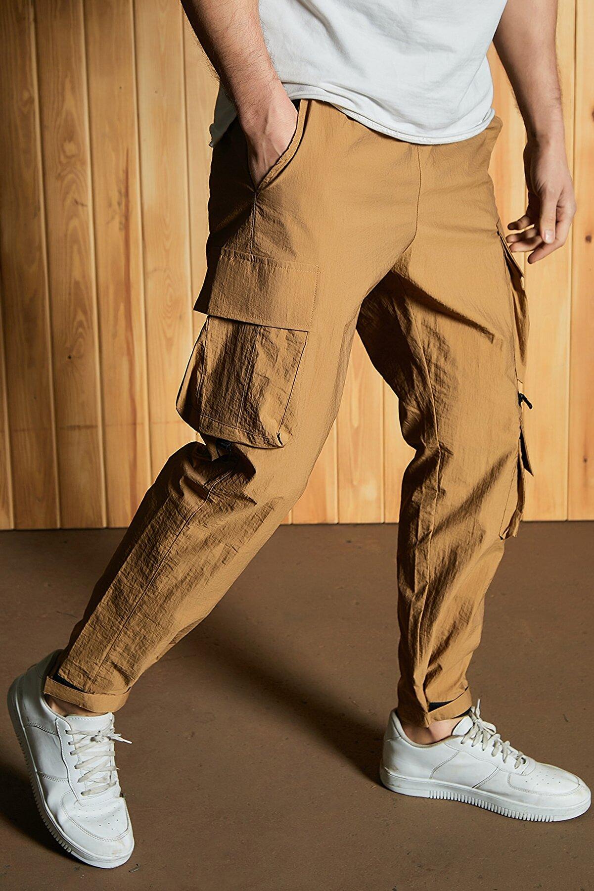 Sateen Men Erkek Camel Paraşüt Kumaş Pantolon