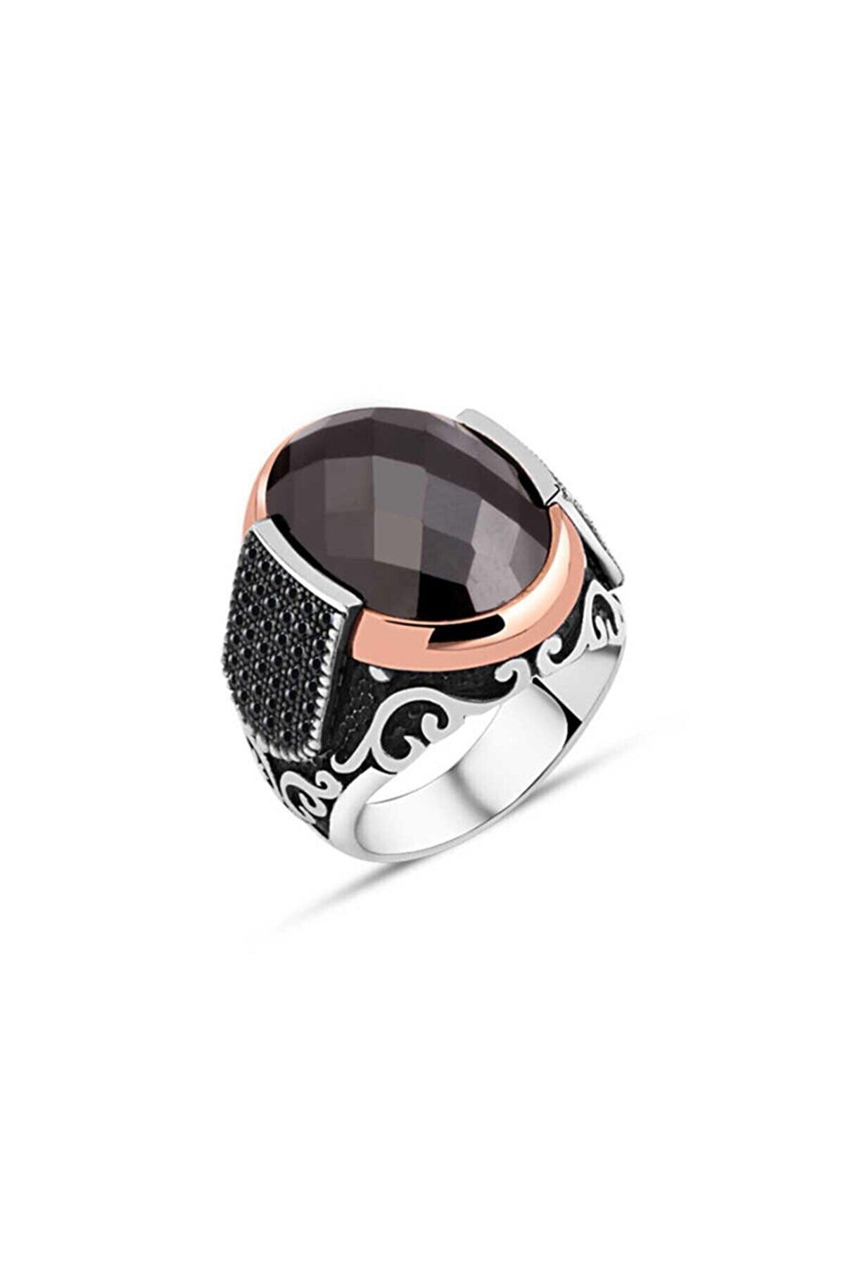 SilverPlus Erkek Kesme Siyah Zirkon Taşlı Gümüş Yüzük KG654