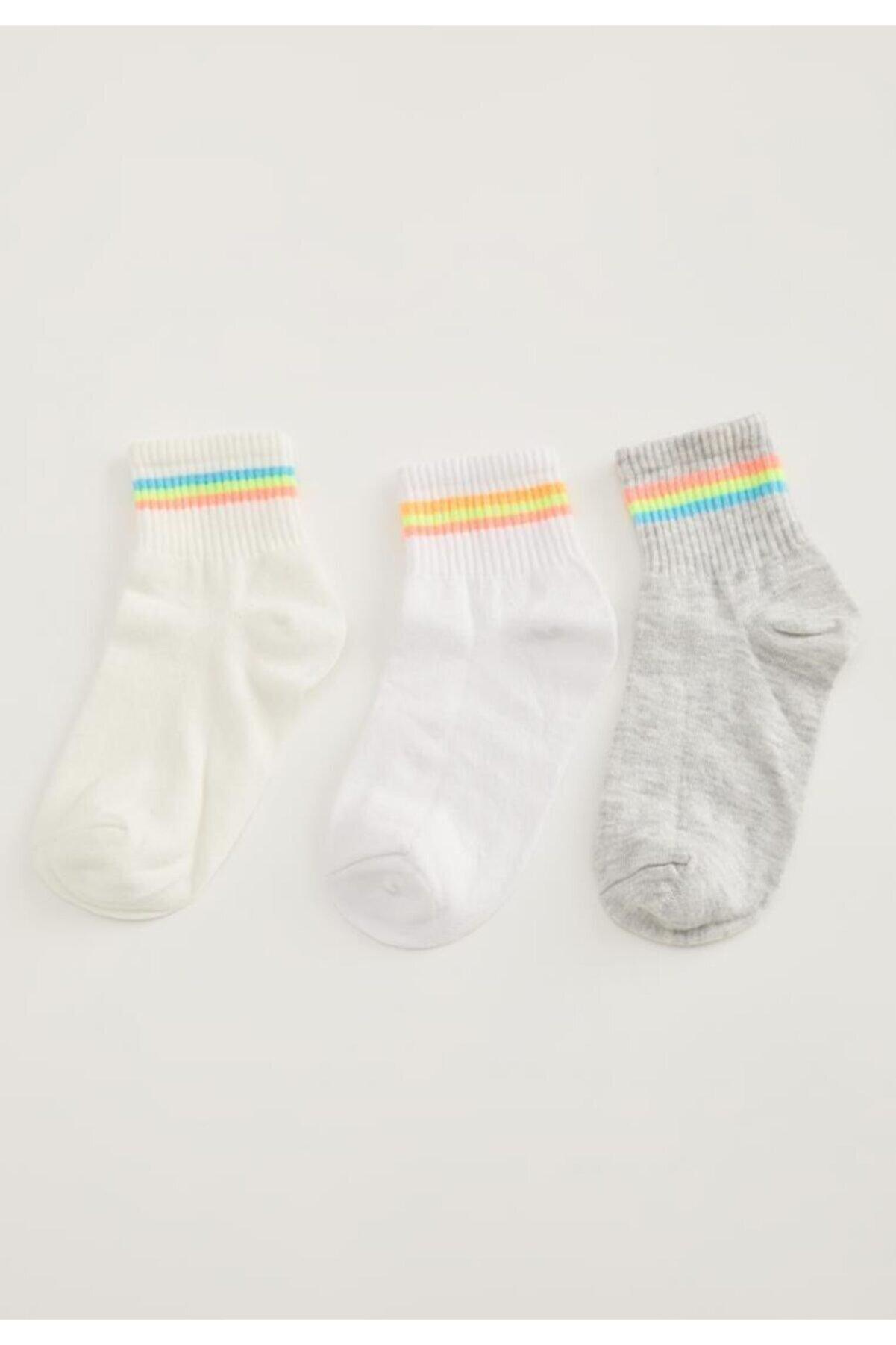 Defacto Kadın Beyaz Çizgi Desenli 3'Lü Bilek Çorap L7694AZNSWT1