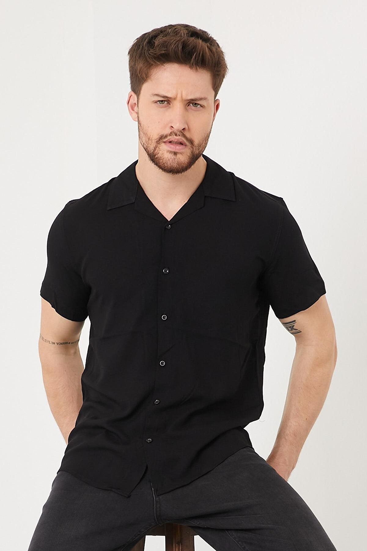 Enuygunenmoda Erkek Slim Fit Keten Apaş Yaka Kısa Kollu Gömlek Siyah