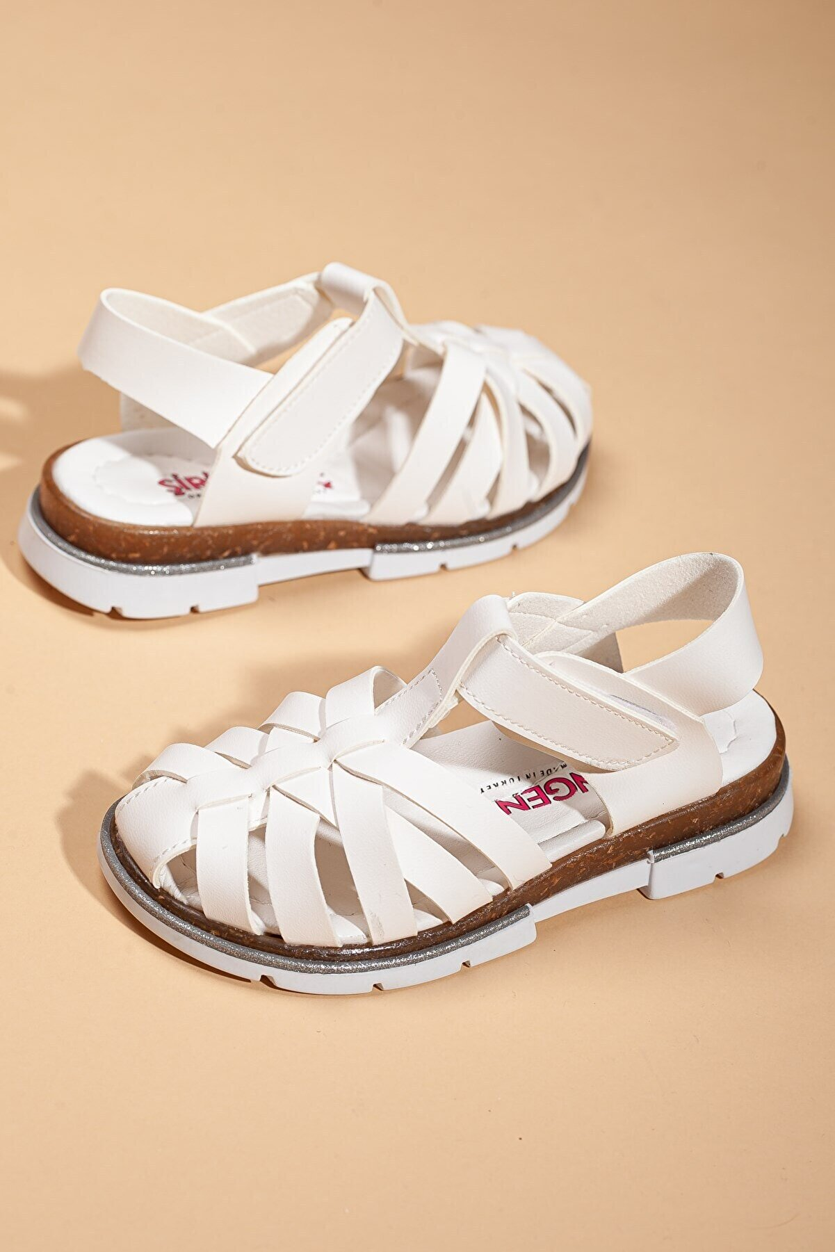 Dilimler Ayakkabı Şirin Genç Ortopedic Kafes Kız Beyaz Patik Flet Sandalet (26-36 NUMARA).