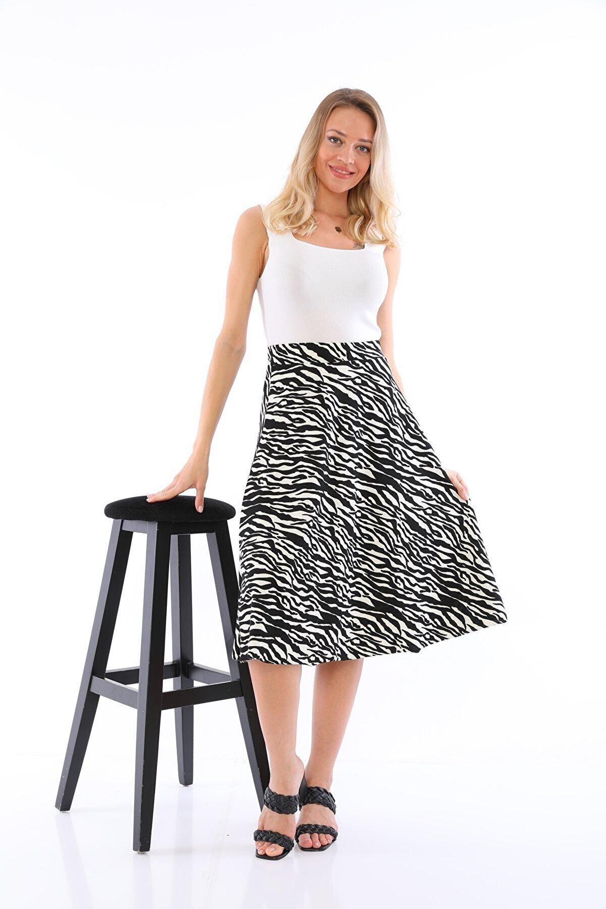 HAKKE Zebra Likralı Etek