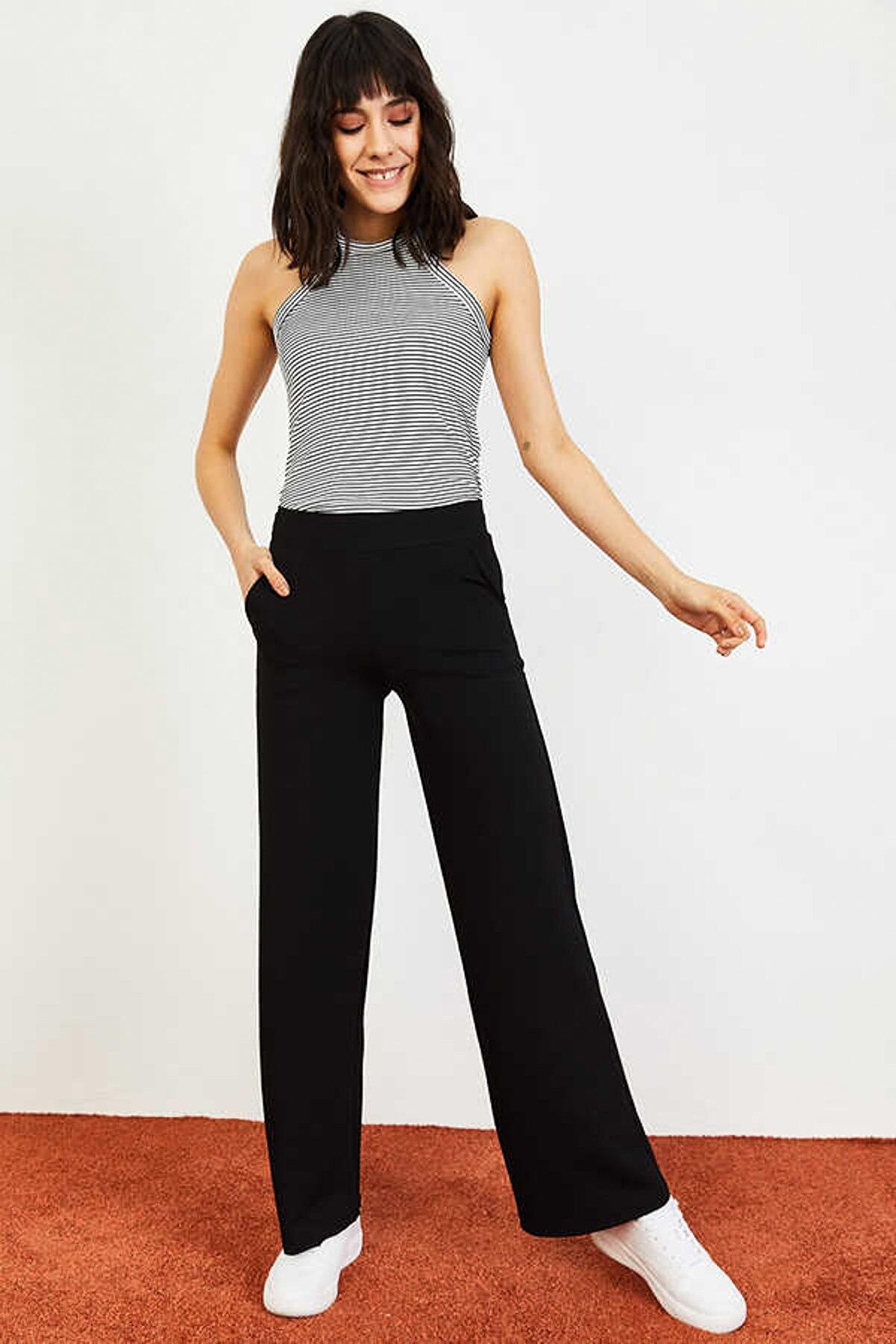 Bianco Lucci Kadın Siyah Beli Lastikli Bol Paça Pantolon 10031052