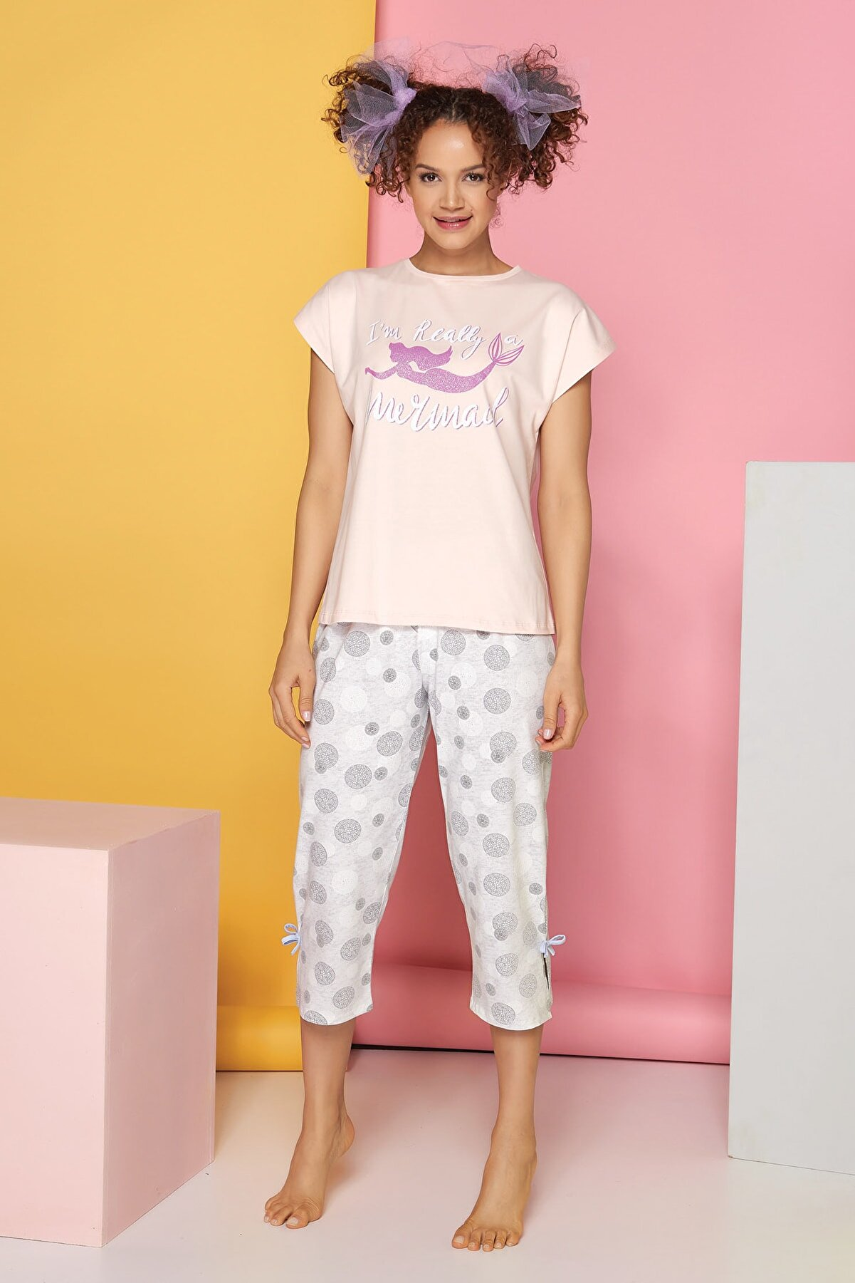Sevim Kadın Yavru Ağzı Kısa Kol Pijama Takımı