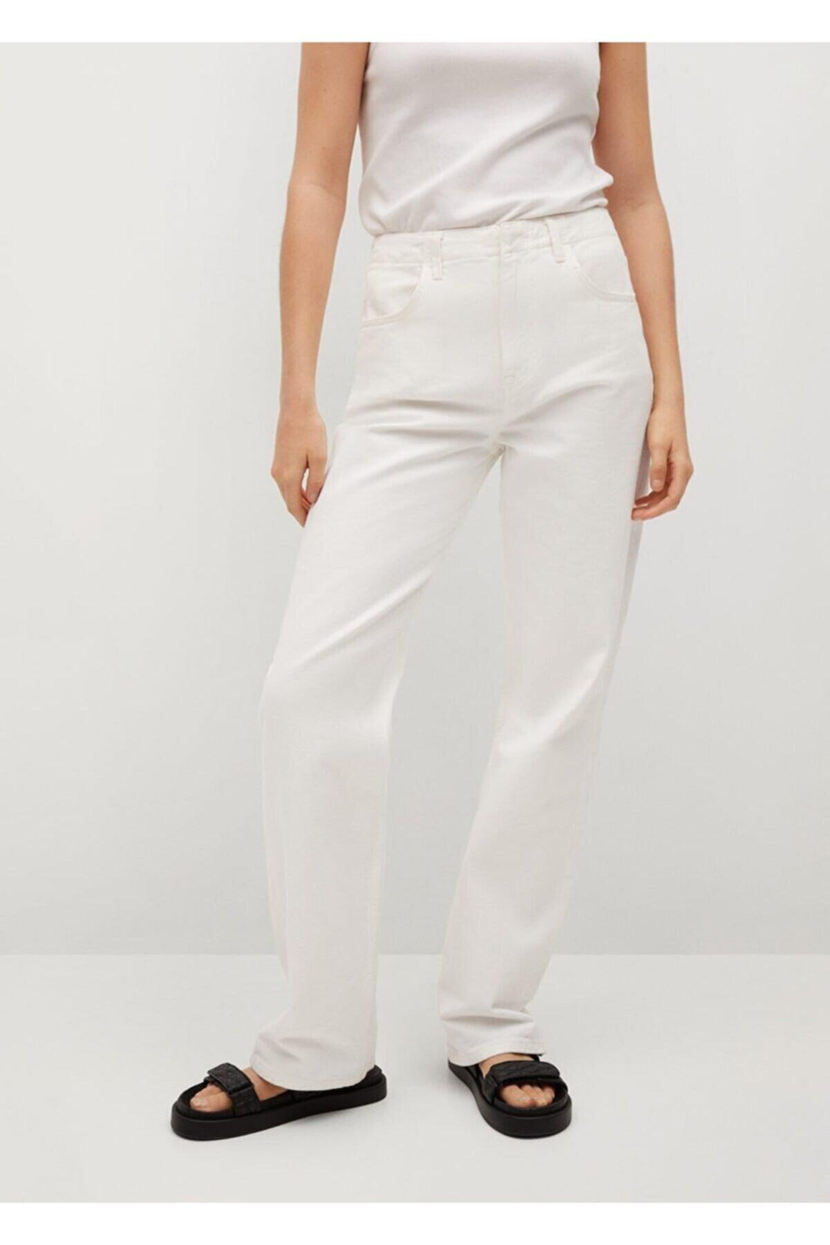 Mango Kadın Beyaz Bol Kesim Yüksek Bel Jean Pantolon