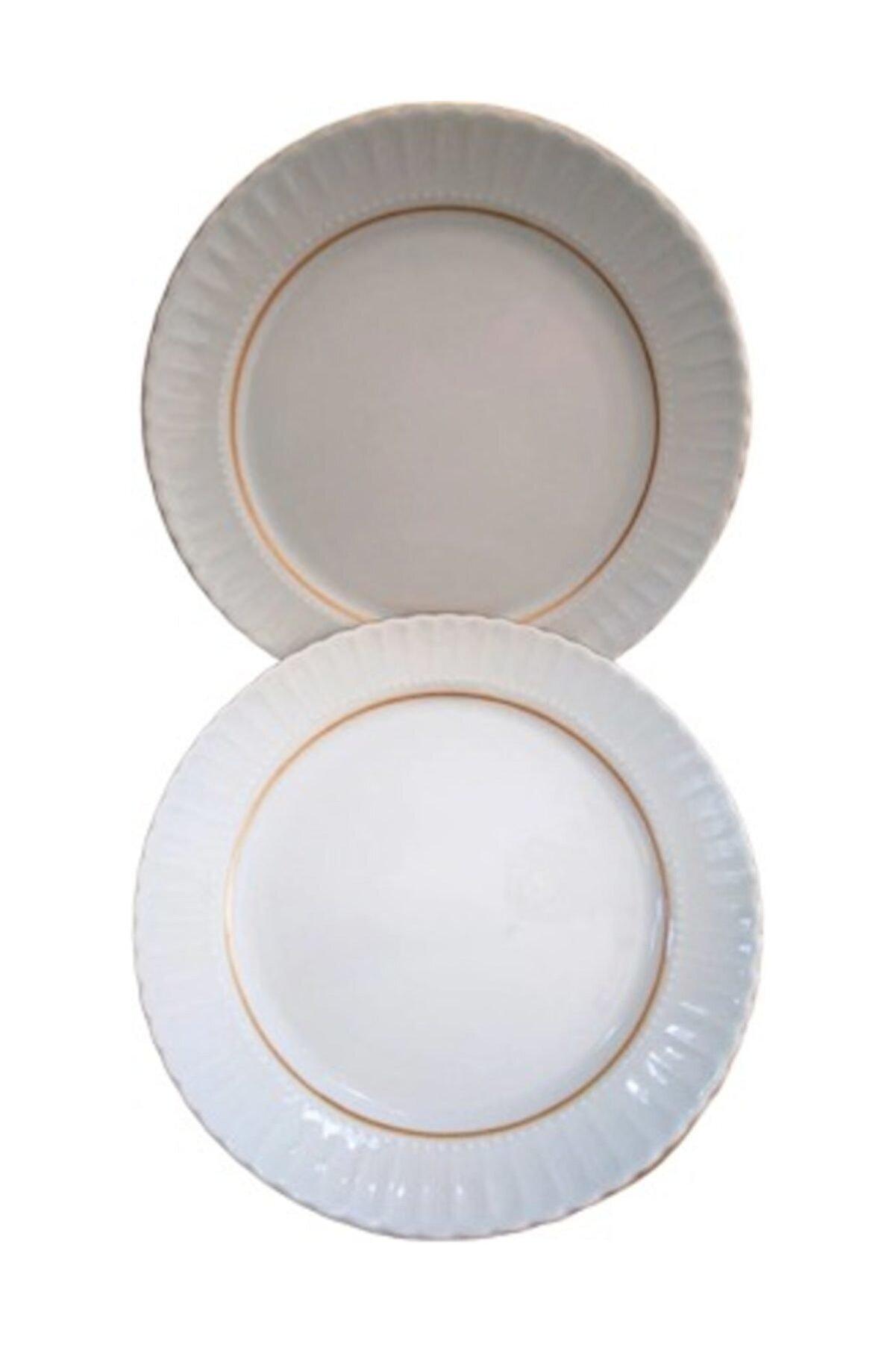 Kütahya Porselen Servis Tabağı, Yaldızlı Tabak, 6 Lı 25 cm